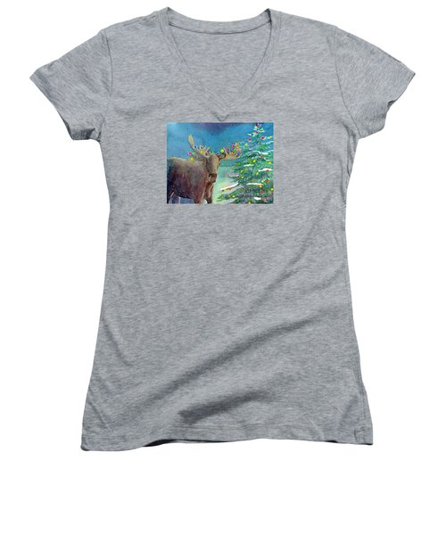 Moosey Christmas Women's V-Neck T-Shirt (Junior Cut) by LeAnne Sowa
