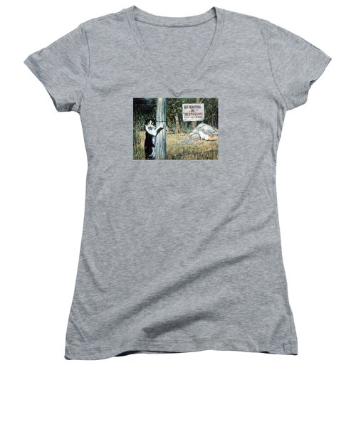 Women's V-Neck T-Shirt (Junior Cut) featuring the painting More Civil Disobedience by Donna Tucker