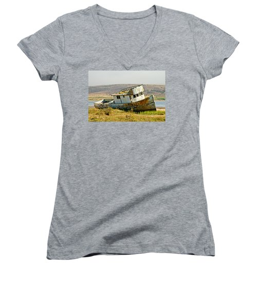 Morning At The Pt Reyes Women's V-Neck T-Shirt (Junior Cut) by Bill Gallagher