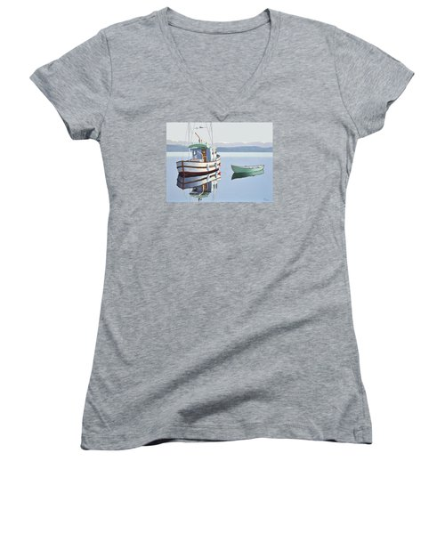 Women's V-Neck T-Shirt (Junior Cut) featuring the painting Morning Calm-fishing Boat With Skiff by Gary Giacomelli