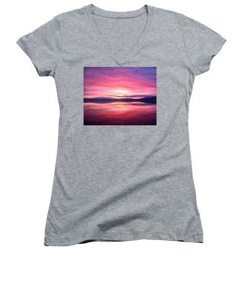 Morning Dawn Women's V-Neck T-Shirt (Junior Cut) by Michael Pickett