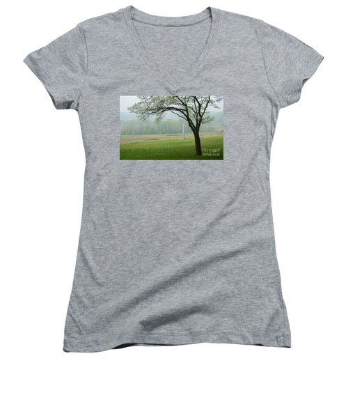 Women's V-Neck T-Shirt (Junior Cut) featuring the photograph Morning Fog At The Monument by Rima Biswas