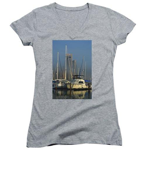 Morning Fog Ll Women's V-Neck T-Shirt (Junior Cut) by Leticia Latocki
