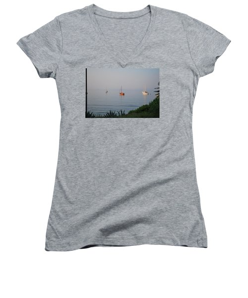 Women's V-Neck T-Shirt (Junior Cut) featuring the photograph Morning by George Katechis