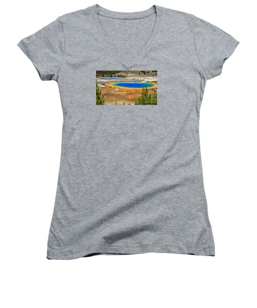 Grand Prismatic Geyser Yellowstone National Park Women's V-Neck (Athletic Fit)