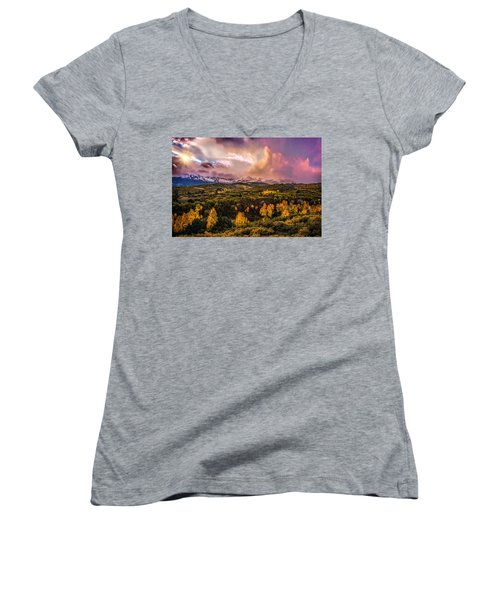 Women's V-Neck T-Shirt (Junior Cut) featuring the photograph Morning Glory by Ken Smith