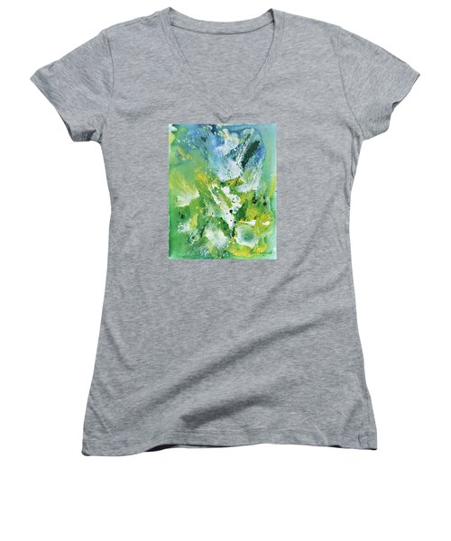 Women's V-Neck T-Shirt (Junior Cut) featuring the painting Morning Hillside by Craig T Burgwardt