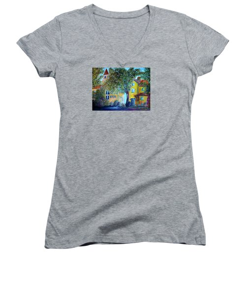 Women's V-Neck T-Shirt (Junior Cut) featuring the painting Morning In Tuscany by Eloise Schneider