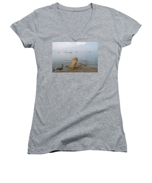 Women's V-Neck T-Shirt (Junior Cut) featuring the photograph Morning Mist 2 by George Katechis