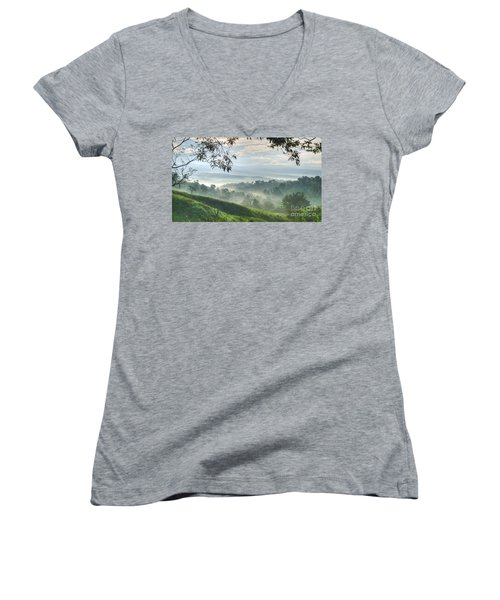 Women's V-Neck featuring the photograph Morning Mist by Heiko Koehrer-Wagner