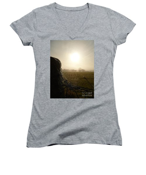 Women's V-Neck T-Shirt (Junior Cut) featuring the photograph Morning Mist by Vicki Spindler