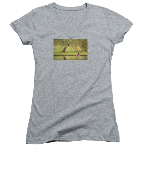 Women's V-Neck T-Shirt (Junior Cut) featuring the photograph Morning Mood by Rima Biswas