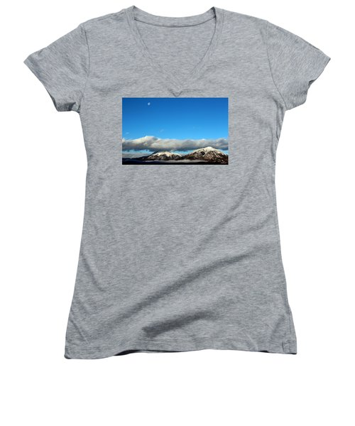 Women's V-Neck T-Shirt (Junior Cut) featuring the photograph Morning Moon Over Spanish Peaks by Barbara Chichester