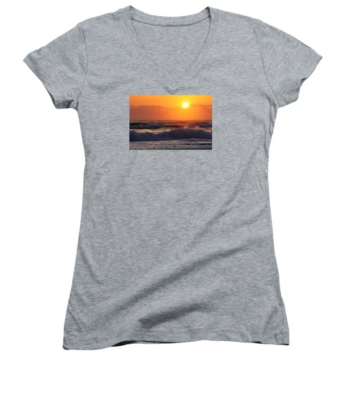 Women's V-Neck T-Shirt (Junior Cut) featuring the photograph Morning On The Beach by Bruce Bley