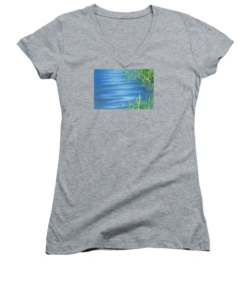 Women's V-Neck T-Shirt (Junior Cut) featuring the drawing Morning On The Pond by Troy Levesque