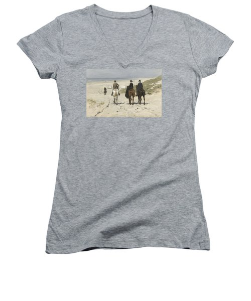 Morning Ride Along The Beach Women's V-Neck