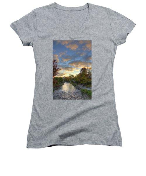 Women's V-Neck T-Shirt (Junior Cut) featuring the photograph Morning Sky On The Fox River by Daniel Sheldon