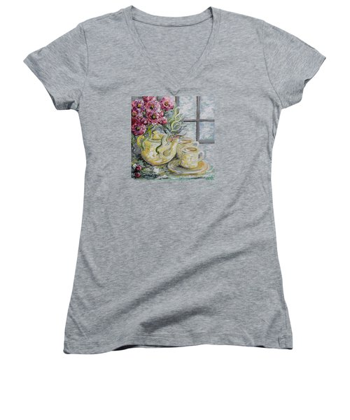 Morning Tea For Two Women's V-Neck (Athletic Fit)