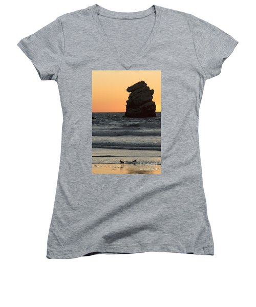 Morro Beach Sunset Women's V-Neck T-Shirt