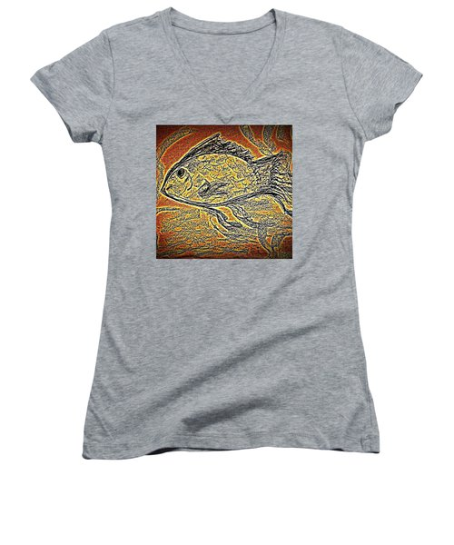 Mosaic Goldfish In Charcoal Women's V-Neck (Athletic Fit)