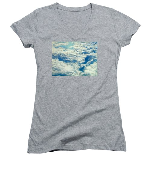 Women's V-Neck T-Shirt (Junior Cut) featuring the photograph Mostly Cloudy by Mark Greenberg