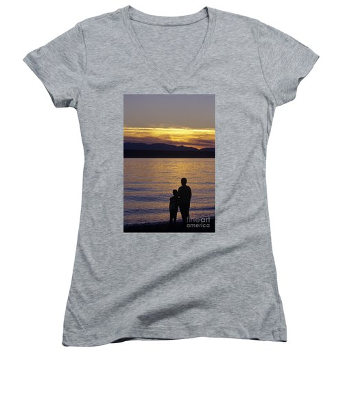 Mother And Daughter Holding Each Other Along Edmonds Beach At Su Women's V-Neck T-Shirt