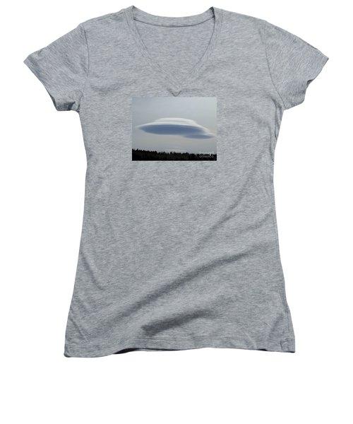 Mother Ship Women's V-Neck T-Shirt (Junior Cut) by Fiona Kennard