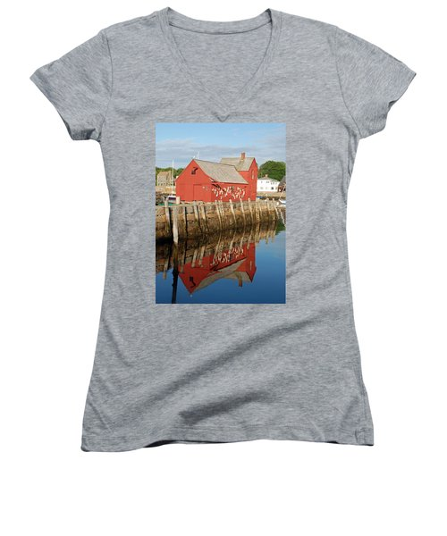 Women's V-Neck T-Shirt (Junior Cut) featuring the photograph Motif 1 With Reflection by Richard Bryce and Family