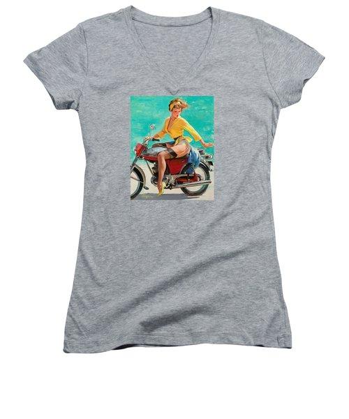 Motorcycle Pinup Girl Women's V-Neck T-Shirt (Junior Cut) by Gil Elvgren