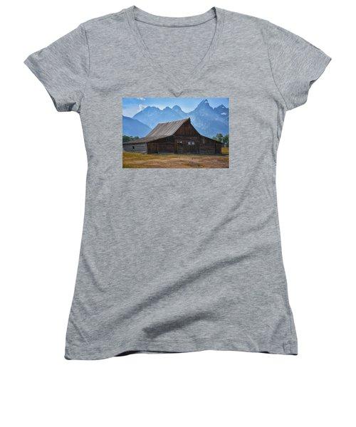Moulton Barn Women's V-Neck T-Shirt (Junior Cut) by Tricia Marchlik