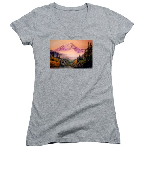 Mount Baker Morning Women's V-Neck (Athletic Fit)