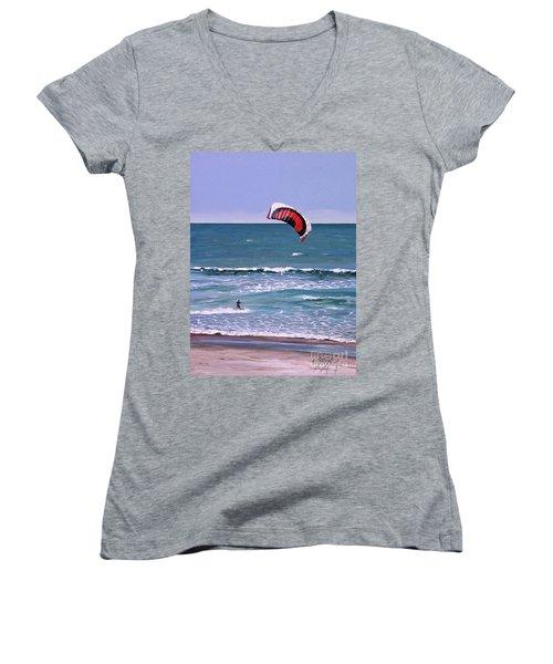 Mount Maunganui 160308 Women's V-Neck T-Shirt (Junior Cut) by Sylvia Kula