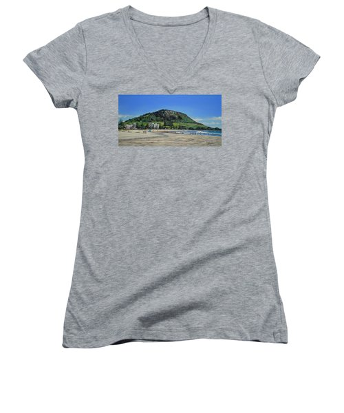 Mount Maunganui Beach 151209 Women's V-Neck T-Shirt (Junior Cut) by Sylvia Kula