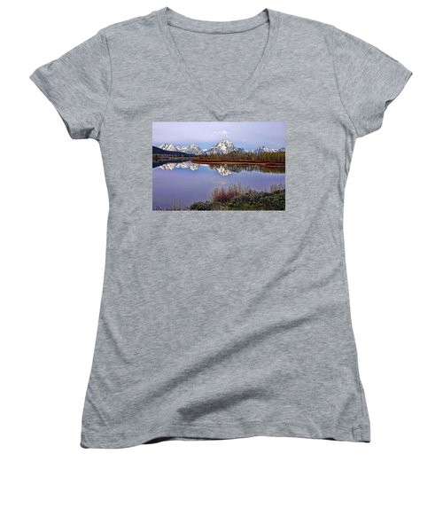 Mount Moran And Jackson Lake Women's V-Neck T-Shirt