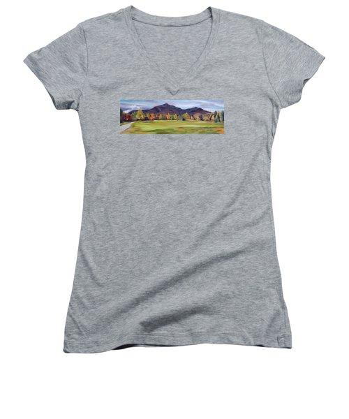 Mount Osceola New Hampshire Women's V-Neck T-Shirt (Junior Cut) by Nancy Griswold