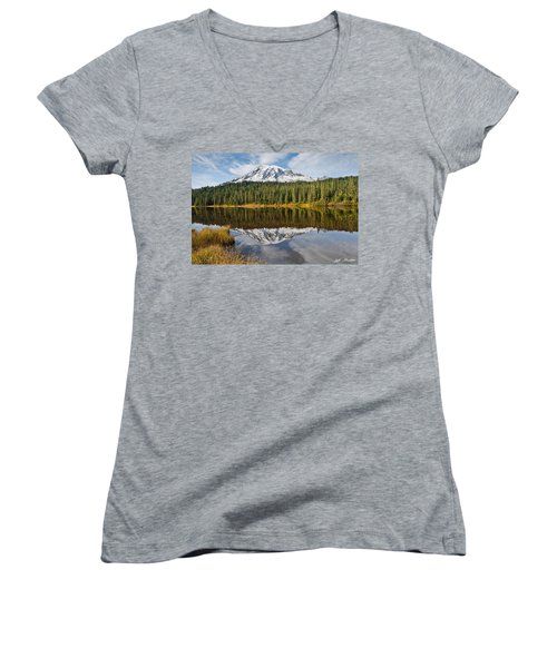 Mount Rainier And Reflection Lakes In The Fall Women's V-Neck T-Shirt (Junior Cut) by Jeff Goulden
