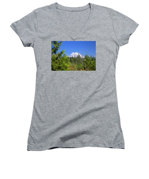 Women's V-Neck T-Shirt (Junior Cut) featuring the photograph Mount Rainier by Gordon Elwell