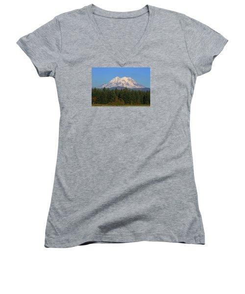 Mount Rainier Washington Women's V-Neck T-Shirt (Junior Cut) by Tom Janca