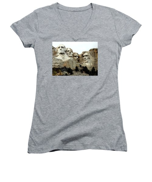 Women's V-Neck T-Shirt (Junior Cut) featuring the photograph Mount Rushmore Presidents by Clarice  Lakota