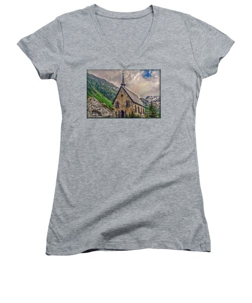 Women's V-Neck T-Shirt (Junior Cut) featuring the photograph Mountain Chapel by Hanny Heim