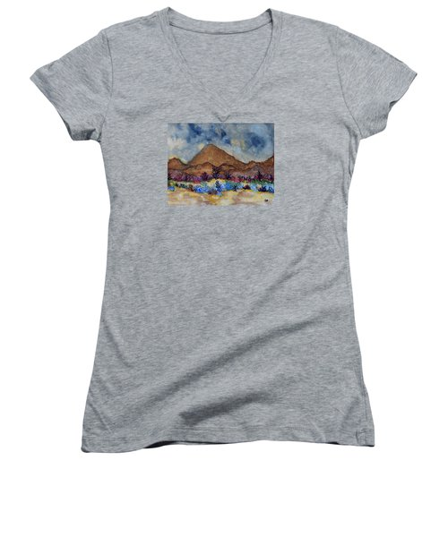 Women's V-Neck T-Shirt (Junior Cut) featuring the painting Mountain Desert Scene by Connie Valasco