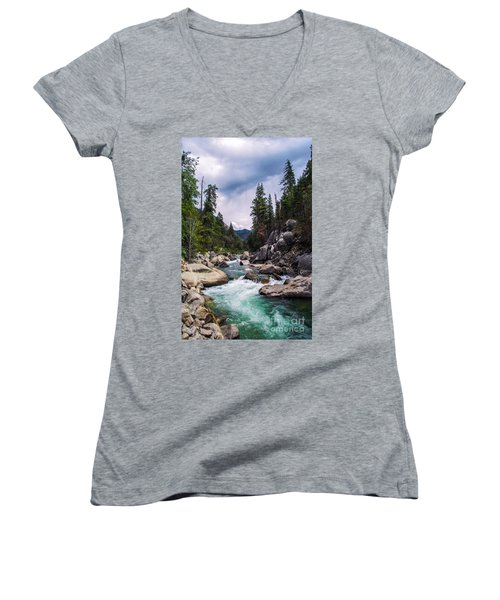 Mountain Emerald River Photography Print Women's V-Neck (Athletic Fit)