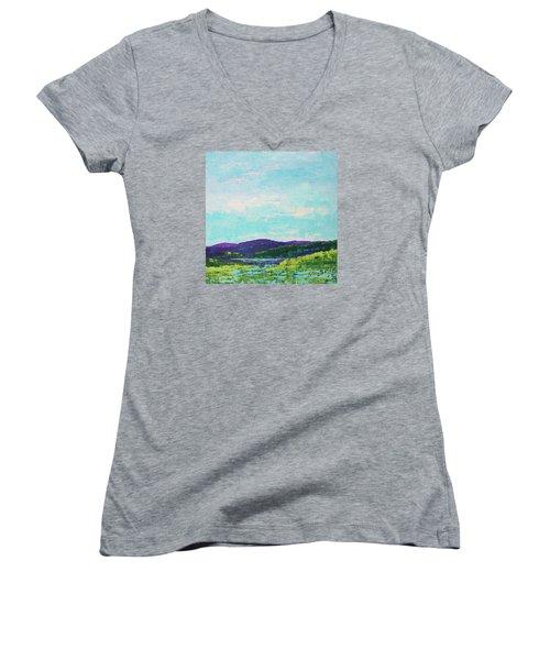 Mountain Lake Women's V-Neck T-Shirt (Junior Cut) by Gail Kent