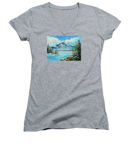 Women's V-Neck T-Shirt (Junior Cut) featuring the painting Mountain Lake In Winter Original Painting Forsale by Bob and Nadine Johnston