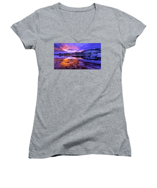 Women's V-Neck T-Shirt (Junior Cut) featuring the painting Mountain Lake Sunset by Bruce Nutting