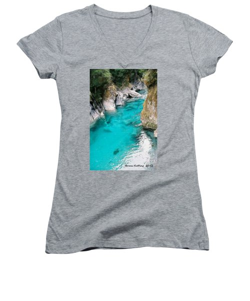 Women's V-Neck T-Shirt (Junior Cut) featuring the painting Mountain Pool by Bruce Nutting