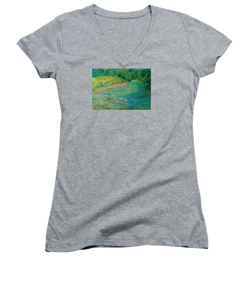 Mountain River In Oregon Colorful Original Oil Painting Women's V-Neck T-Shirt