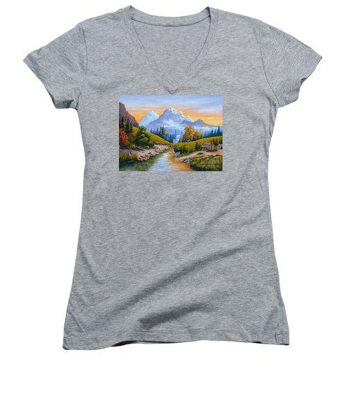 Mountain Stream Women's V-Neck T-Shirt