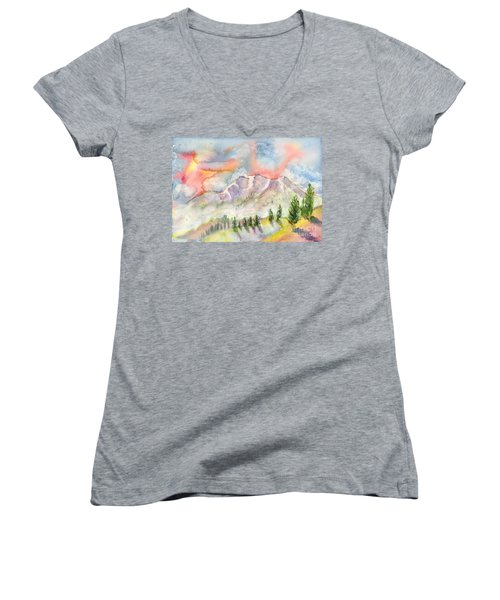 Mountain Sunset Women's V-Neck (Athletic Fit)