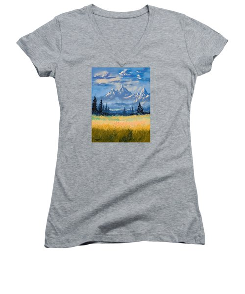 Women's V-Neck T-Shirt (Junior Cut) featuring the painting Mountain Valley by Richard Faulkner